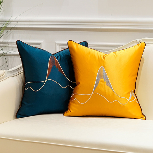 Luxury New Mountain Embroidery Silk Stripe Cushion Cover Pillow