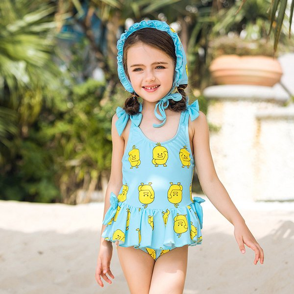 Swimwear Children 2019 New Hot Sale Summer One Piece Printing Swimsuit Kids Swimwear For Kids Girls Cute Swimsuits With Cap