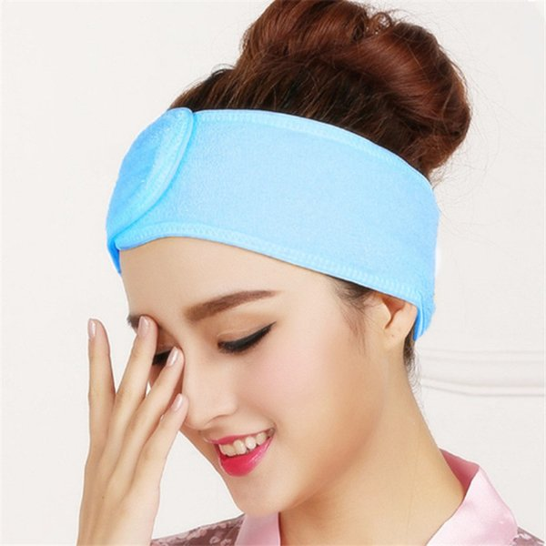 1PC Adjustable Hair Wrap Head Band For Women Simple Candy Color Beauty Makeup Toweling Soft Salon SPA Facial Headband H108
