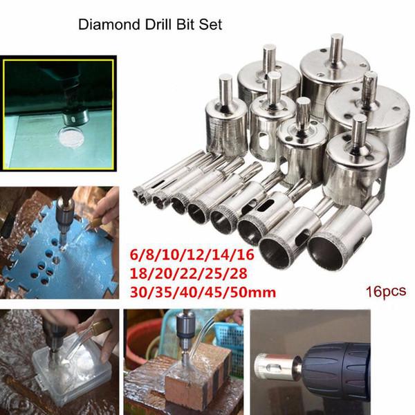 16pcs 6-50mm diamante broca conjunto agujero agujero mármol mármol granito sierra herramienta de corte