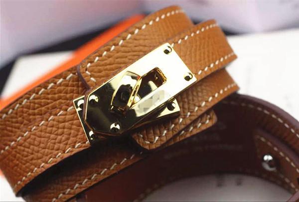 Moda de luxo de aço de titânio H pulseira de couro pulseira de couro botão redondo grande rosto pulseira para as mulheres presente