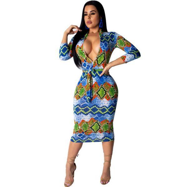 Европейский глубокий v шеи женщины карандаш платье sexy night club party midi dress дамы печати платье