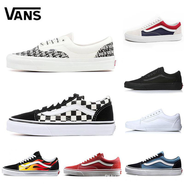 vans 2019 Flames Original old skool YACHT CLUB Scarpe da skate nero blu rosso Classic uomo donna canvas sneakers moda Cool Skateboard casual