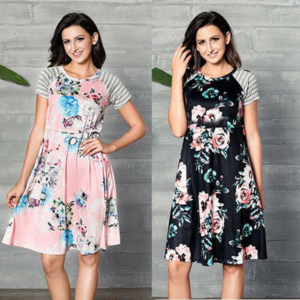 Damen Frauen Umstandskleid Sommer Kurzarm Rundhals Nursing Blumen Kleidung Stillen Lange Kleider