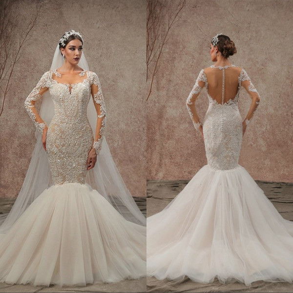 Vintage Lace Applique Beads Country Mermaid Wedding Dresses Modest Boat Neck Full Sleeves Backless Fishtail Bridal Gowns