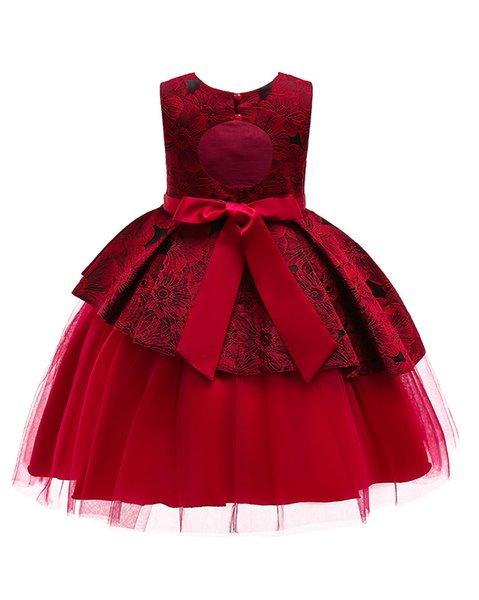 1pcs Baby Girls Backless Princess Prom Dresses Sleeveless Lace Flower Embroidered Patchwork Formal Gowns party Dress Kids Designer Clothes