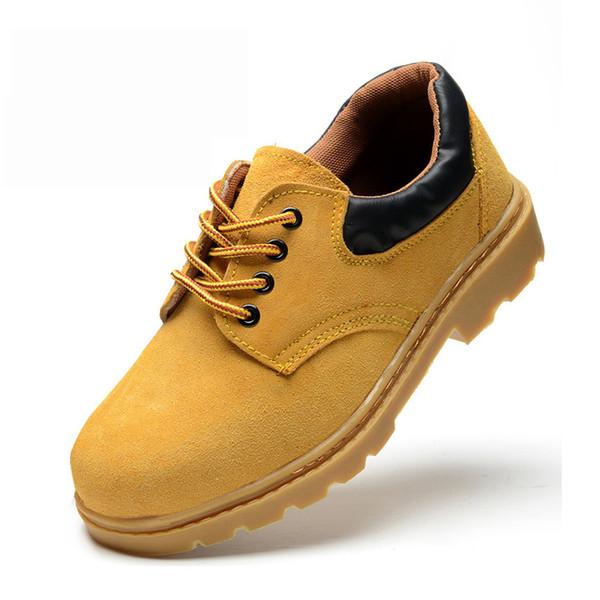 Botas de segurança de trabalho de homens Mens Casual couro sapatos de segurança de camurça prova de punção de aço Anti-smashing proteção aço Toe sapatos