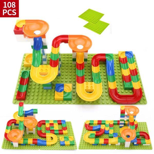 top popular Hot Sale Crazy Ball Building Blocks Marble Race Run Maze Ball Track Building Blocks Plastic Funnel Slide Toy 2021