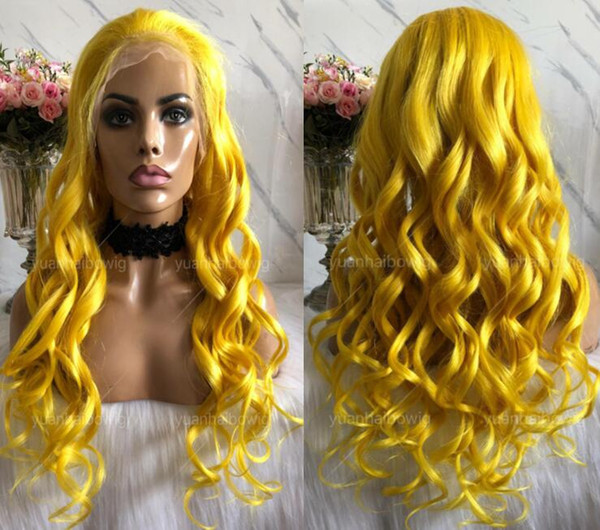 Yellow Full Lace Wig High Quality Malaysian Hair Virgin Human Hair Color Lace Wigs Celebrity Wig Loose Wave Front Lace Wigs Free Shipping