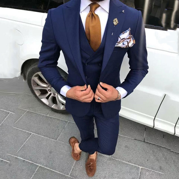 Navy Blue Men Suits for Wedding Groom Tuxedos Costume Homme Vintage Man Business Jacket Best Man Blazers 3Piece Coat Pants Terno Masculino