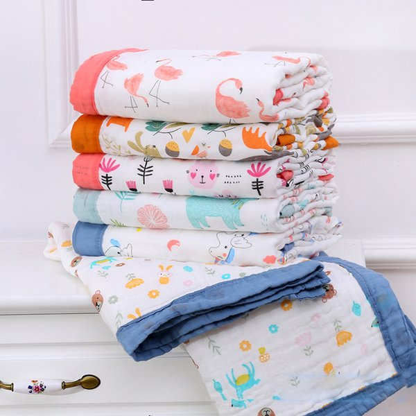 6 Layers super soft multi-usage cotton muslin blanket baby swaddle blanket stroller cover Bath Towel baby receiving blanket