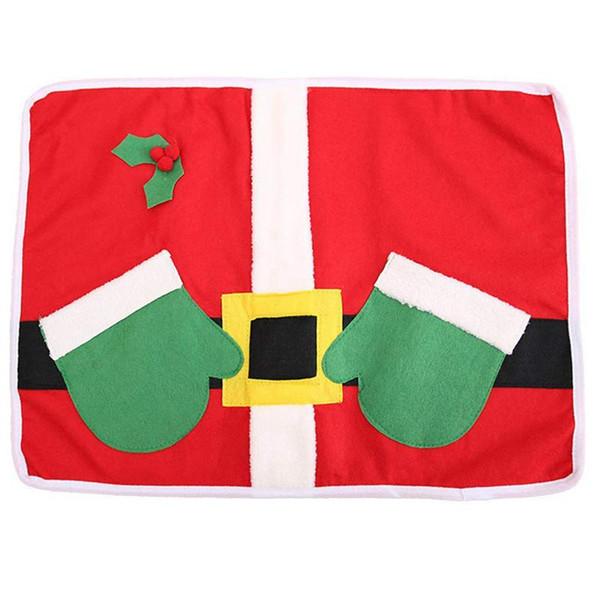 Placemats Natal Papai Noel Ternos De Mesa, Conjunto Placemat de 4 Não-Deslizamento Lavável Lugar Esteiras Talheres Titular Dinner Party Decor