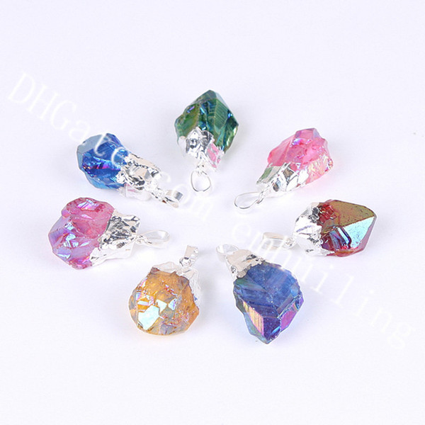 silver plated mixed random color stone