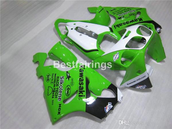 Kit de carenado personalizado gratuito para Kawasaki Ninja ZX7R 96 97 98 99 00-03 kits de carenados blanco verde ZX7R 1996-2003 TY25