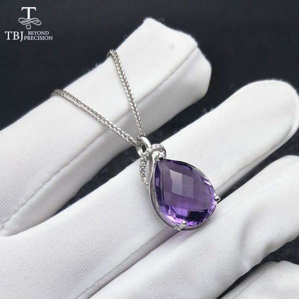 tbj ,natural brazil amethyst pear 12*16mm checkboard cut gemstone pendant with chain necklace in 925 sterling silver