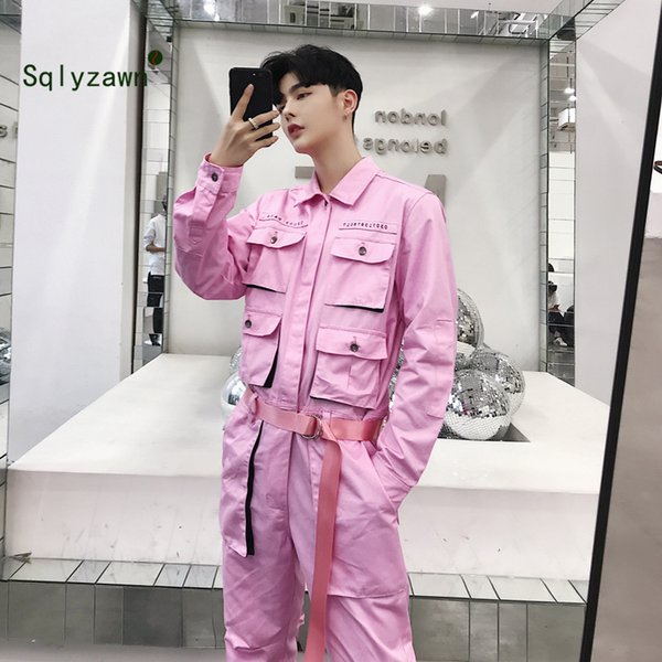 Pants 2019 Cool Men Casual Cargo Pants Jumpsuit Man Multi-pocket Hooded Hip Hop Overalls Male One Piece Long Sleeved Winter Trousers
