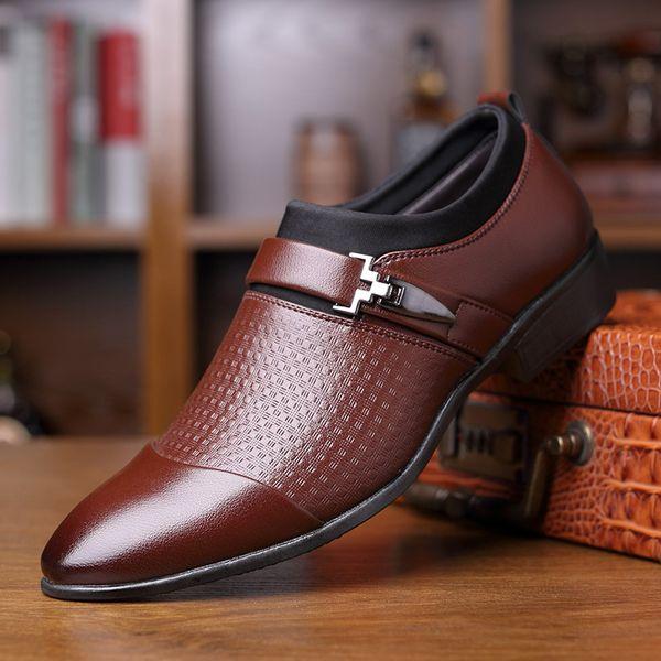 Mens Dress Shoes Plaid Buckle PU leather shoes Man Rubber Social Shoes Men Soild Mens Dress Shoes Plaid Buckle2019