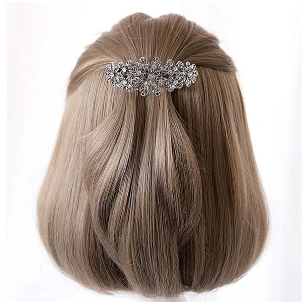 2pcs Women Hair Clip Crystal Fancy Flower Hair Accessories Pin for Banquet Daily Life Evening Party Wedding