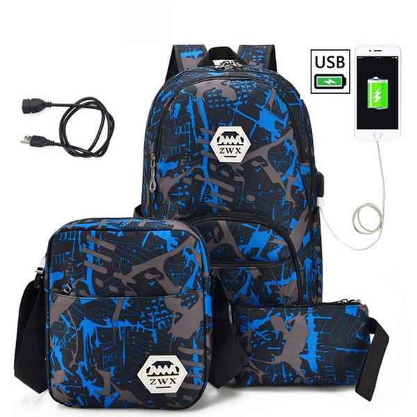 For Boys One Shoulder Big Student Book Bag 3pcs Usb Male Backpack Bag Set Red And Blue High School Bag Men School Backpack Women Y190530