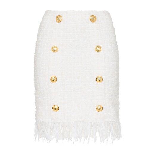 Os mais recentes 2020 Branco Inverno Designer Saias Mulheres Tassel franjada Lion Botões Tweed saia
