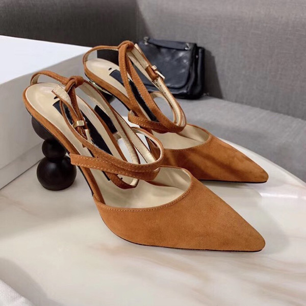 2019 Women Pumps designer shoes Round wood heel Les Chaussures Camil Orsay Pumps Strappy silhouette real leather Women Office Party shoes