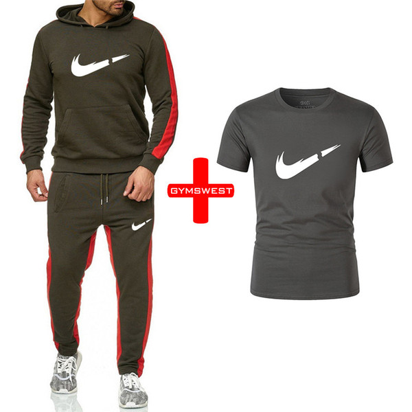 2019New Marca Tuta uomini biancheria intima termica Uomini Sportswear Imposta Fleece Thick hoodie + Pants + magliette Sporting Suit hombre Malechandal