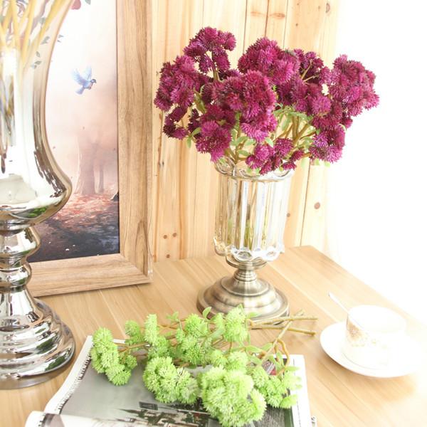 5 pcs/lot Artificial plastic 6 heads succulents Cauliflower soft gum fine fruit plant head bouquet with home decoration fake plants
