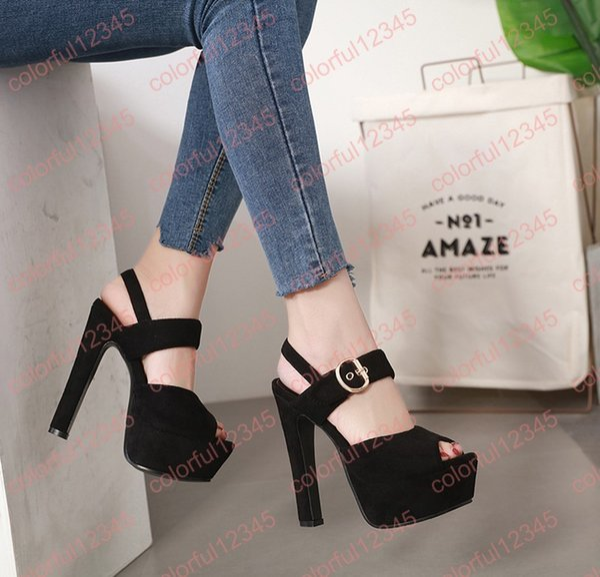 Ladies Shoes And Sandals Black Suede High Heels Summer Ankle Buckle Sexy Women Heels 15cm Platform Sandals