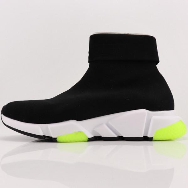HOT Desinger BLCG Vitesse Formateurs Casual Chaussures Jaune Noir extérieur stretch Chaussures de sport en tricot avec effet c17 Sock Cuffed C17