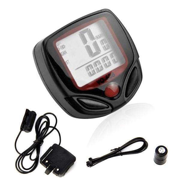 15 Function Waterproof LCD Bike Bicycle Odometer Speedometer Cycling Speed Meter #136757