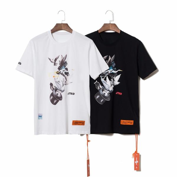 19SS TOP Summer High Quality Heron Preston Doves Printed Men Women Short Sleeve Streetwear Hiphop kanye west T shirt tees Cotton
