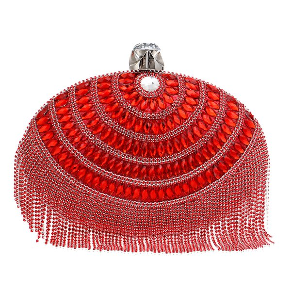 Dgrain Tassel Pearl Clasp Women Vintage Beaded & Crystal Evening Handbags and Purses Bridal Clutch Wedding Party Bag Top Hand Women Bag