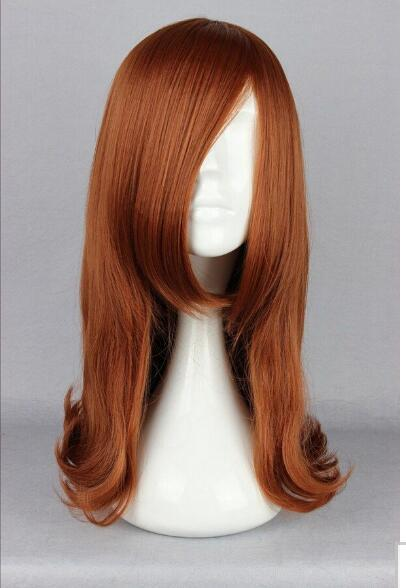 FREE SHIPPING+ Anime Little Curly Harajuku Brown Orange Cosplay Lady Oblique Fringe Lolita Wig