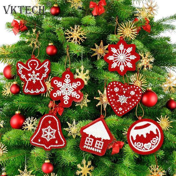 best selling Painting Cross Stitch 10pcs DIY Diamond Painting Christmas Tree Pendant Full Drills Special Shape Diamond Embroidery Christmas Decoration...