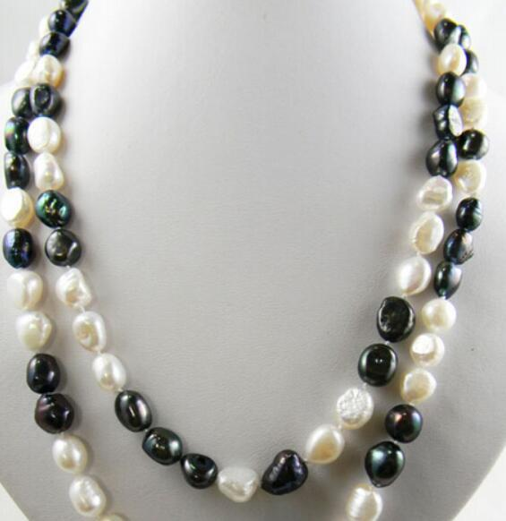 necklace Free shipping ++++42'' 9mm white black baroque freshwater pearl necklace new