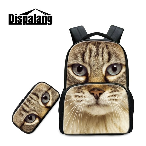 Dispalang Latest Models 2 in 1 Set Multi-function Laptop Backpack with Pencil Case for Girls Cute Peacock Cat Image Lady Style