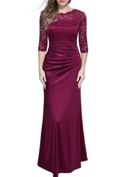 Red Satin Dress Lace Evening Prom Dresses Long 2019 Sheer Neck 1/2 Sleeve Dubai Arabic Mermaid Long Evening Formal Gowns