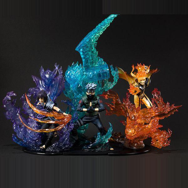 best selling Anime Naruto: Shippuden Uzumaki Naruto Uchiha Sasuke Hatake Kakashi PVC Action Figure Collectible Model Toys for Christmas Gift Y200421