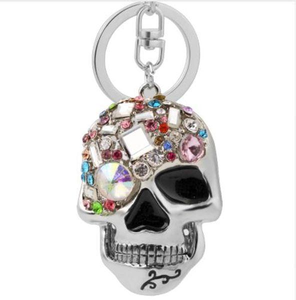 Rhinestone de metal cabeza del cráneo llavero multicolor de la joyería única de moda punk llavero llavero anillo mujeres bolsa accesorios colgante