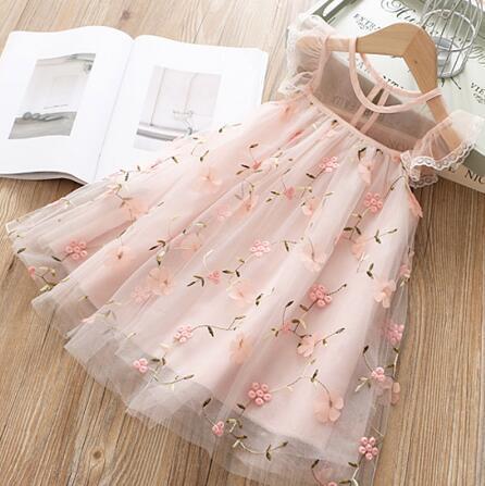 Cute Girls Dress 2019 New Summer Girls Clothes Flower Princess Dress Children Summer Clothes Baby Girls Dress Casual Wear
