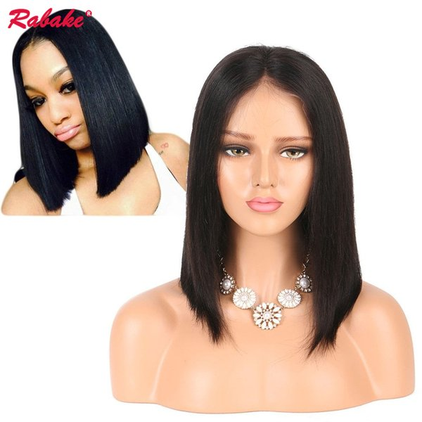 Rabake Short Lace Front Human Hair Wigs Brazilian Remy Hair Bob Wig with Pre Plucked Hairline Bleached Knots Free Shipping