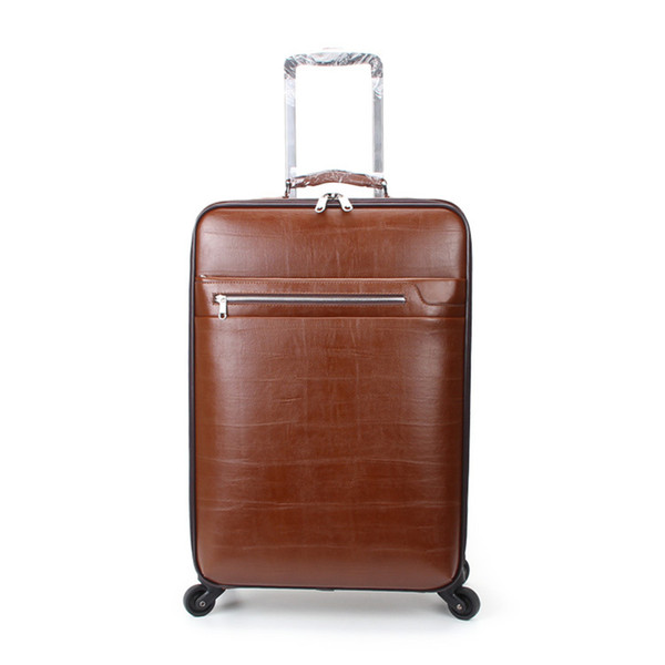 Wholesale!20inches pu leather large capacity travel luggage bags on universal wheels,man commercial trolley luggage bags