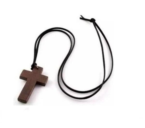 Joyería de la vendimia collar cruzado de madera del estilo coreano colgante simple cruz de madera y cuero de la cuerda encanto de la cadena del suéter del collar de la boda de las mujeres