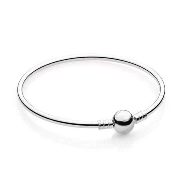 Sterling Silver Women Bangle With Original box Fashion Mens Bracelets Logo Stamped for Pan beads Bracelet European Charms W256