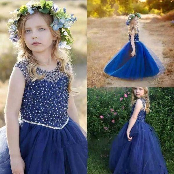 Reale immagine di blu marino Le ragazze Pageant Dresses 2019 Jewel cristallo borda Flower Girl Dress Compleanno bambini abiti del partito cosplay bambini di usura