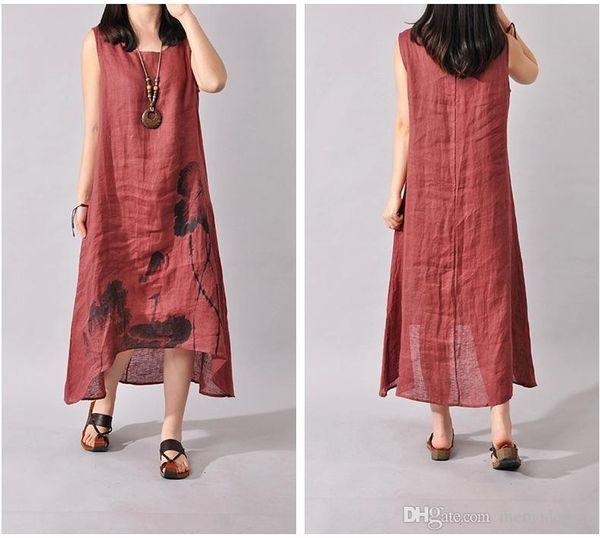 2017 Summer Cotton Linen Women Dresses Ink Art Print Loose Casual A-line Designs O-neck Plus Size Thin Long Dresses Temperament XZ-074