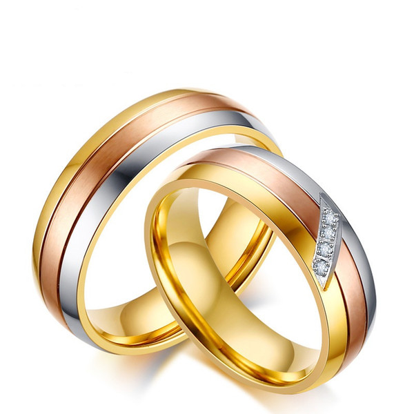 Tres colores de moda simple anillos de amante de acero inoxidable piedras preciosas anillo de circón regalo de la joyería para mujeres hombres J146