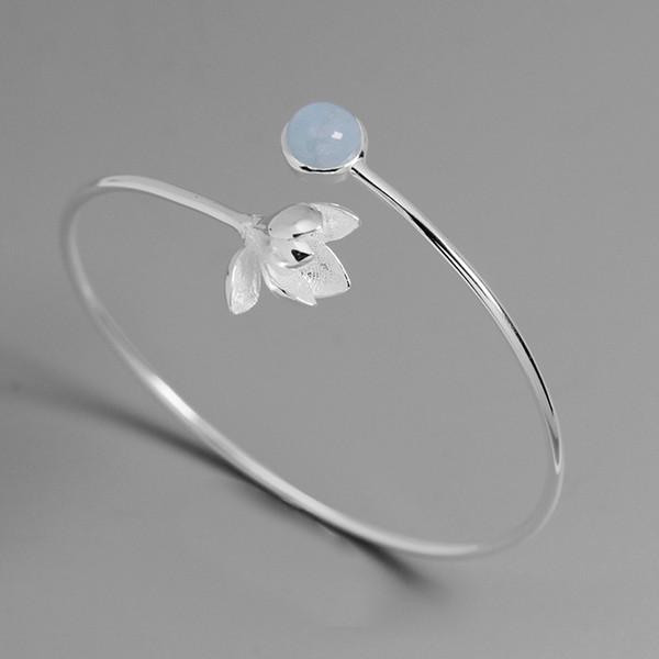 Inature 925 Ayar Gümüş Mavi Aquamarine Manolya Çiçek Bilezik Kadınlar Için Bilezik Güzel Takı Hediye SH190721