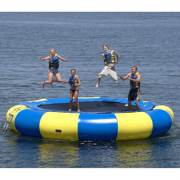 top popular Good quality water trampoline 0.6mm PVC inflatable trampoline outdoor game summer water toy water park 2021