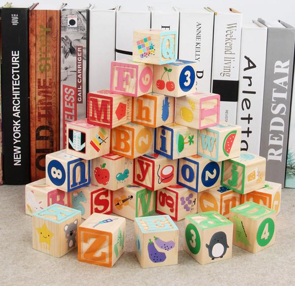 아기 Y200111에 대한 26pcs 어린이 몬테소리 알파벳 문자 디지털 조기 학습 자료는 나무 ABC 큐브 블록 교육 장난감 선물